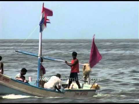 Boat riders in the middle of the Arabian Sea