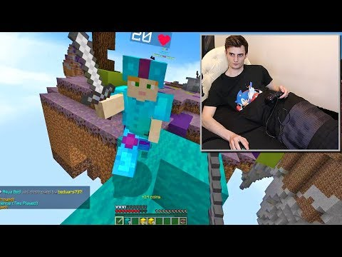 playing minecraft bed wars in a bed