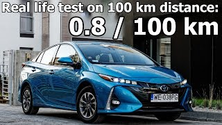 Most economical car: Toyota Prius Plug-in Hybrid (Prime) in real life test on 100 km :: [1001cars]