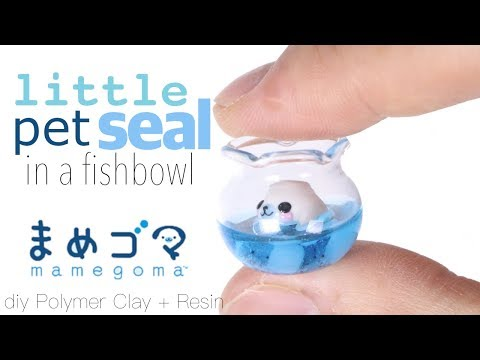 How to DIY miniature Mamegoma (little seal) in fishbowl Polymer Clay/Resin Tutorial