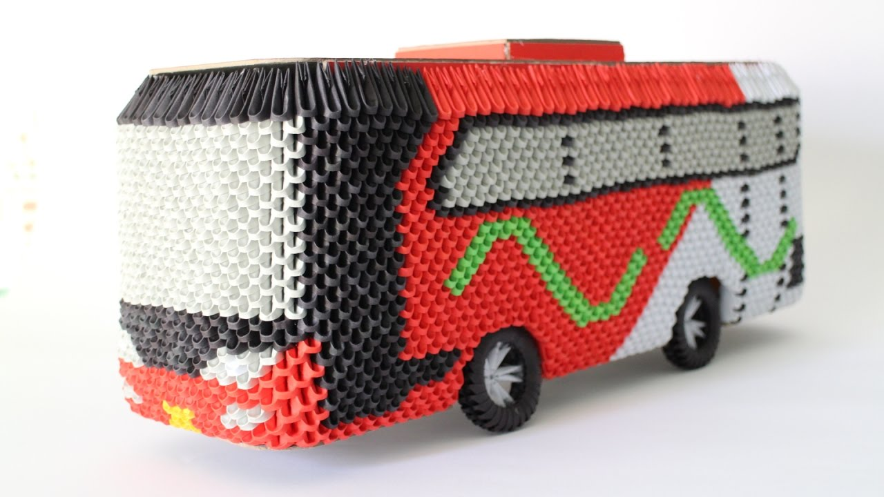 Howto 3d origami bus om telolet om part 3 youtube - Animaux origami 3d ...
