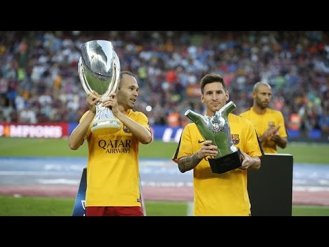 UEFA Supercup trophy and UEFA Best Player award at the Camp Nou