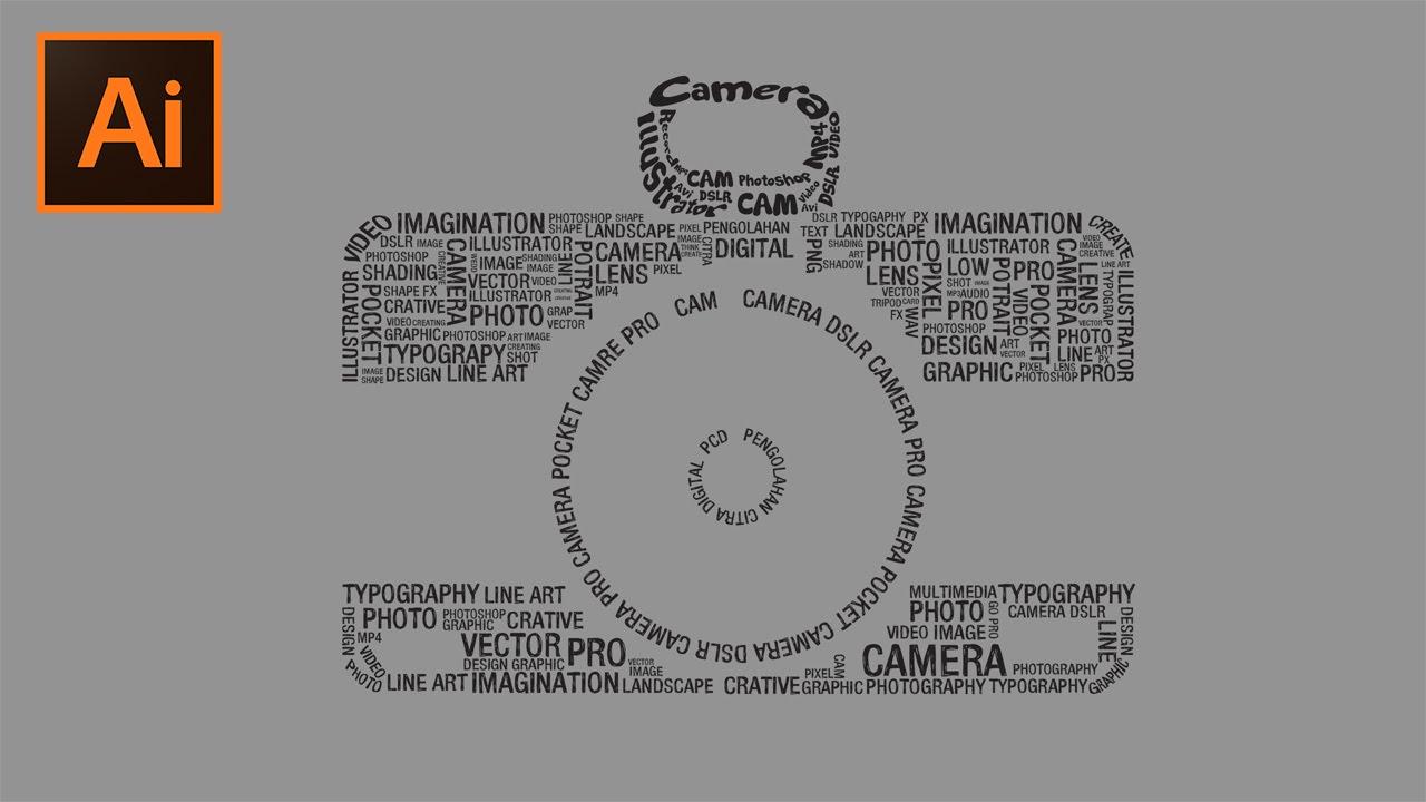 Tutorial Typography bentuk Kamera di Adobe Illustrator CC