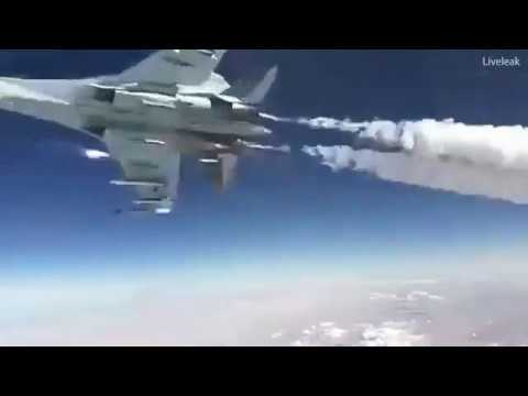 Russian jet pilot leaves trail of smoke whilst moving at speed