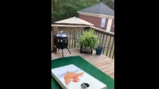 Guy Throws A Long Cornhole Shot While Bouncing On Trampoline