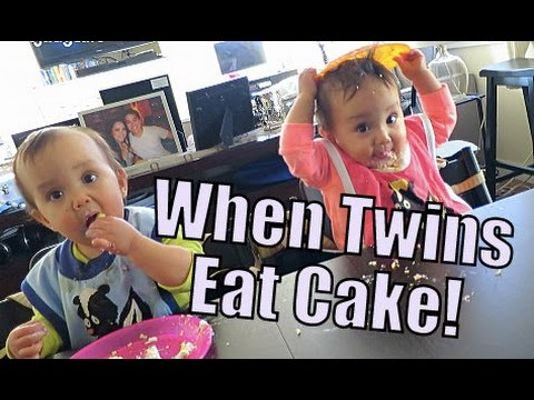 When Baby Twins EAT CAKE! uh oh... - March 09 2015 - ItsJudysLife Vlogs