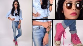 Multiple Ways of Wearing a DENIM Shirt by Santoshi | The Styledge