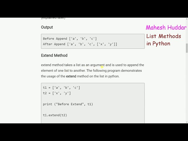 List Methods in Python - Python Tutorial by Mahesh Huddar