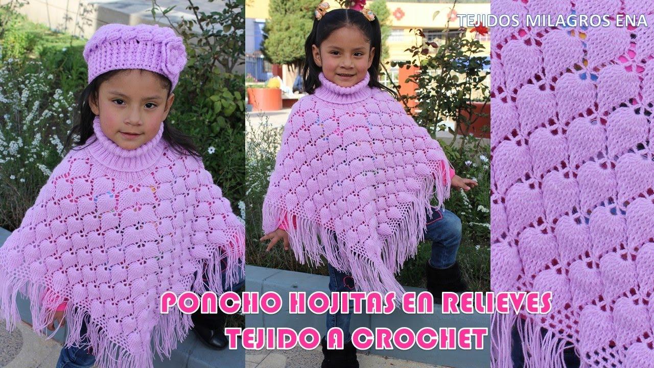 Poncho Hojitas en Relieves PARTE 1 tejido a crochet o ganchillo con ...