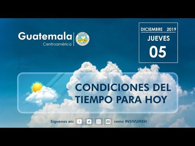 Condiciones del tiempo para hoy jueves 5 de diciembre de 2019