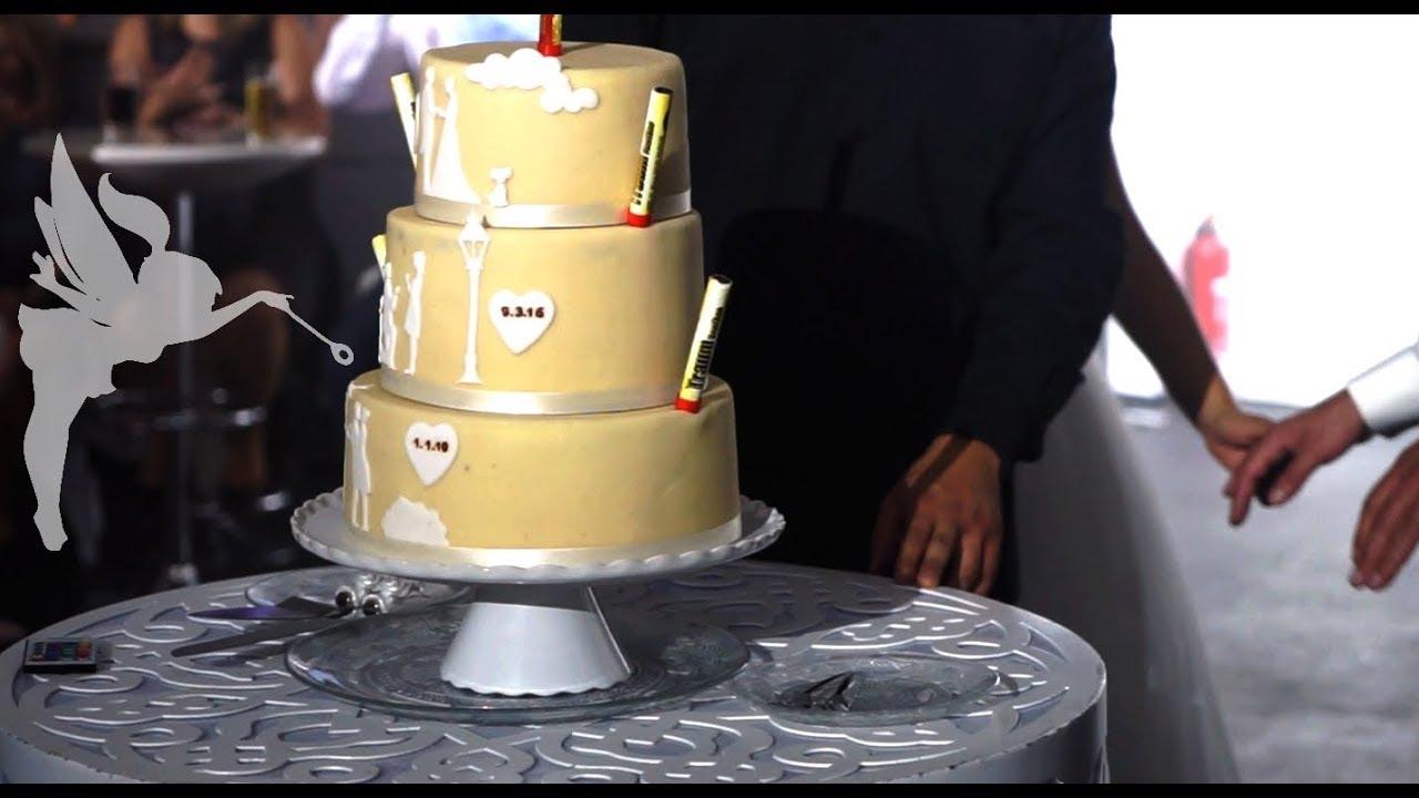 Making Of Marzipan Hochzeitstorte Mit Silhouetten Deko