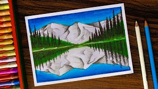 Mountain with Reflection Drawing for beginners with Oil Pastels step by step
