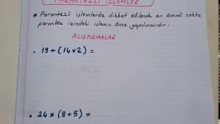 5.sınıf matematik Parantezli işlemler