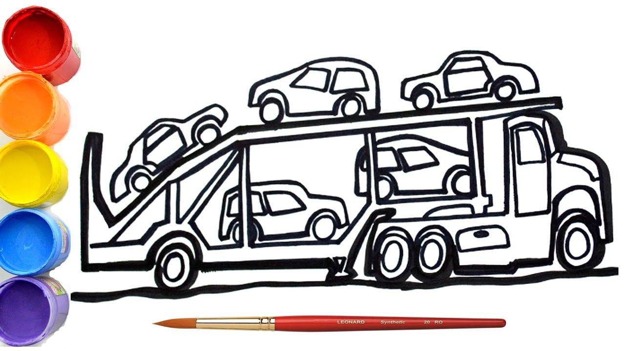 🔴 Cara Menggambar dan Mewarnai Truck Transporter Mobil | dump truck |  Belajar Menggambar Untuk Anak