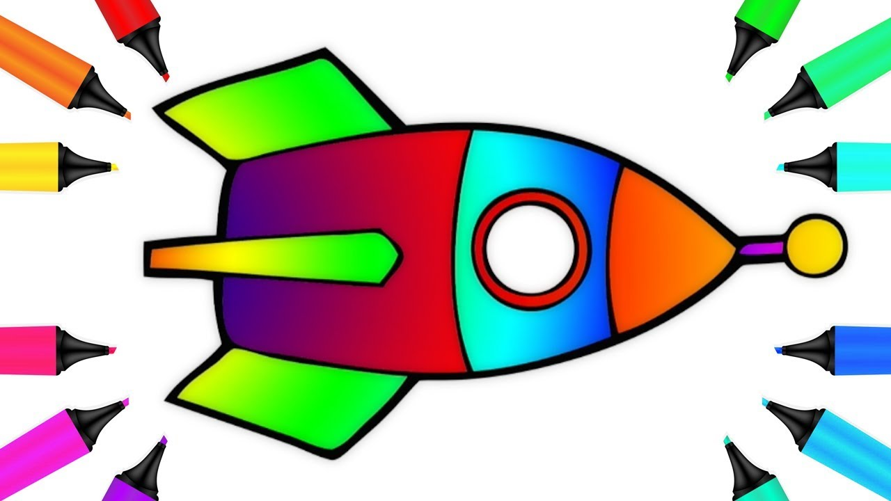 How to Draw a Rocket with Magic Rainbow Marker Coloring Book