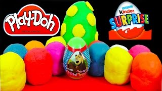 20 Surprise Eggs Play Doh Kinder Surprise Egg Toys Disney Cars 2 Маша и Медведь Spongebob