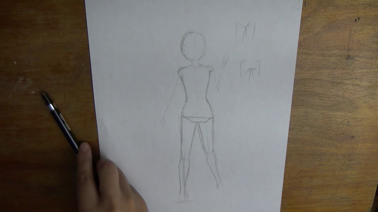 How to Draw Anime Girl Body Back View + Walking