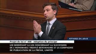 Adoption du principe de la loi modifiant le statut du journal La Presse