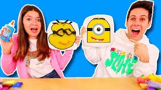 SLIME ART CHALLENGE Mystery Wheel & How To Make Minions Diy Art
