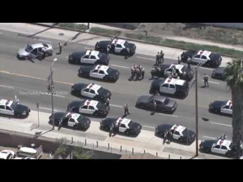 Los Angeles Police Car Chase Girl Speeds Through South L.A Park in Erratic Pursuit