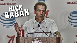 Nick Saban speaks to the media after Alabama