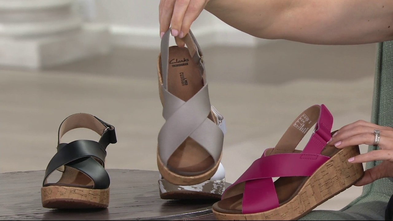 55703a6551e Clarks Leather Cross Band Wedge Sandals - Stasha Hale on QVC - YouTube