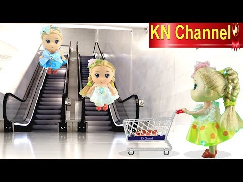 KN Channel BÚP BÊ ĐI SIÊU THỊ CÓ THANG CUỐN Đồ chơi trẻ em CỦA BÉ NA