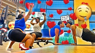 LEADING MY FIANCE ON AT THE GYM..(SPICY REACTION)