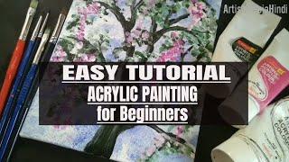 एक्रेलिक पेंटिंग ।। EASY ACRYLIC PAINTING For beginners