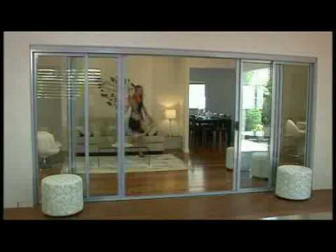 2 or 3 panels automatic stacking doors for residential house & 2 or 3 panels automatic stacking doors for residential house - YouTube