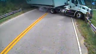 Driver Keeps Her Cool as Her School Bus Collides with Semitrailer