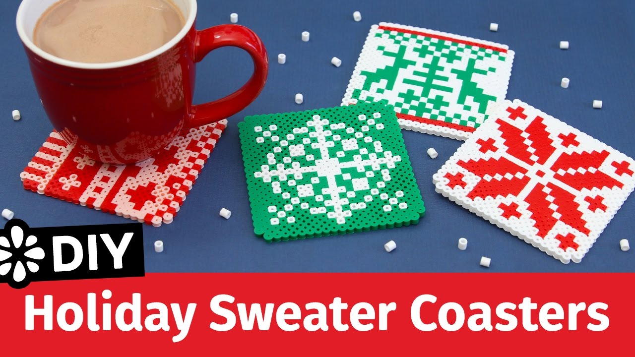 DIY Holiday Sweater Perler Bead Coasters | Sea Lemon