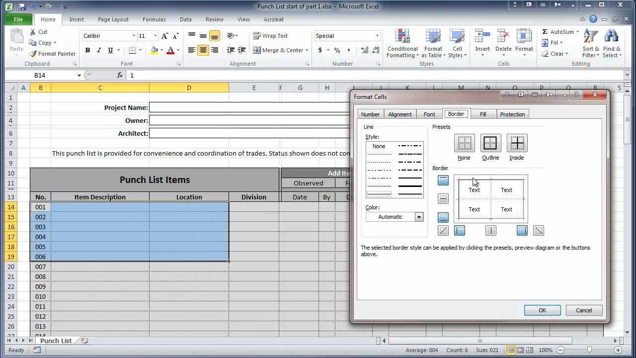 Excel 2010 Construction Punch List Part I Create Table