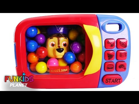 Thumbnail: Learn Colors for Children: Paw Patrol Chase & Skye in Microwave Kitchen Appliance
