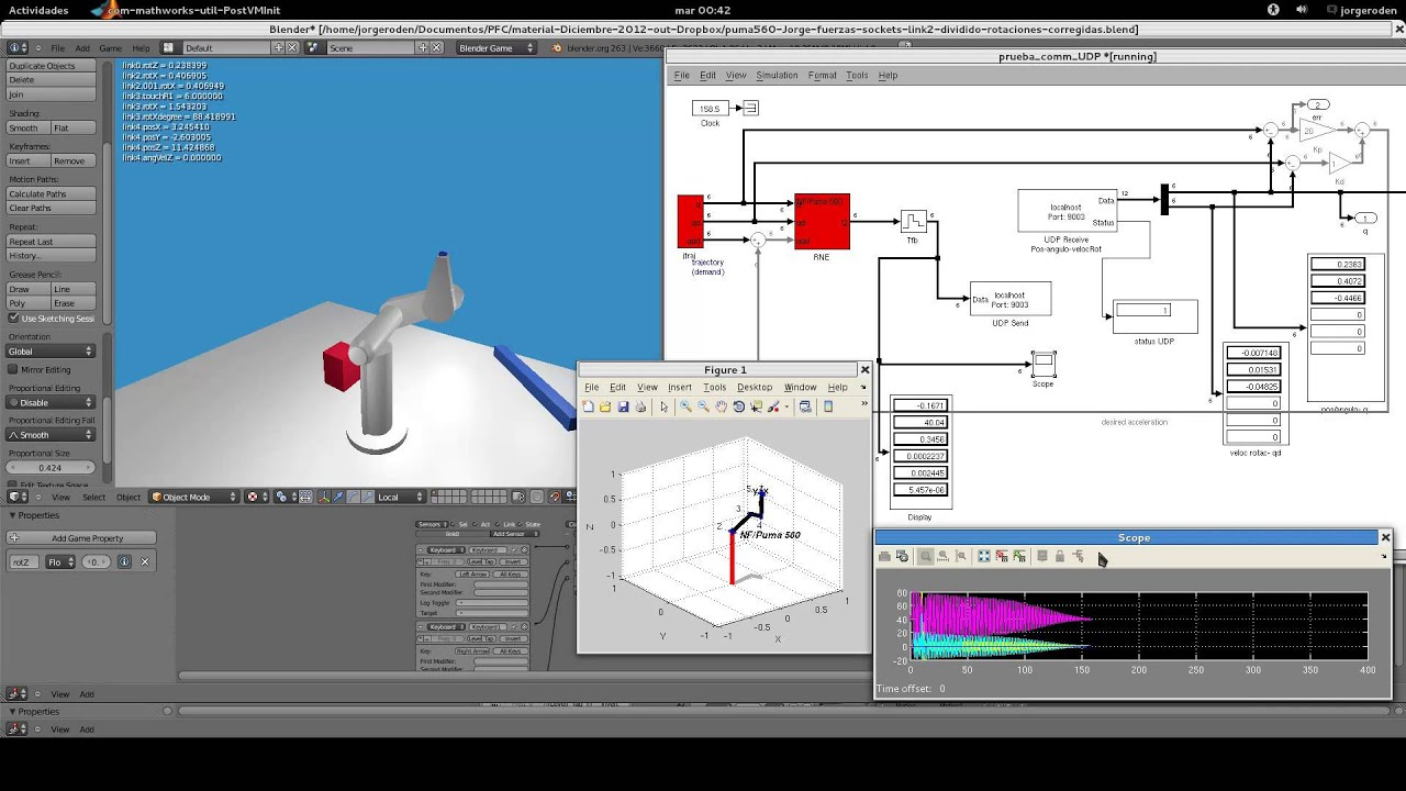simulacion puma560 blender matlab captura video parte2