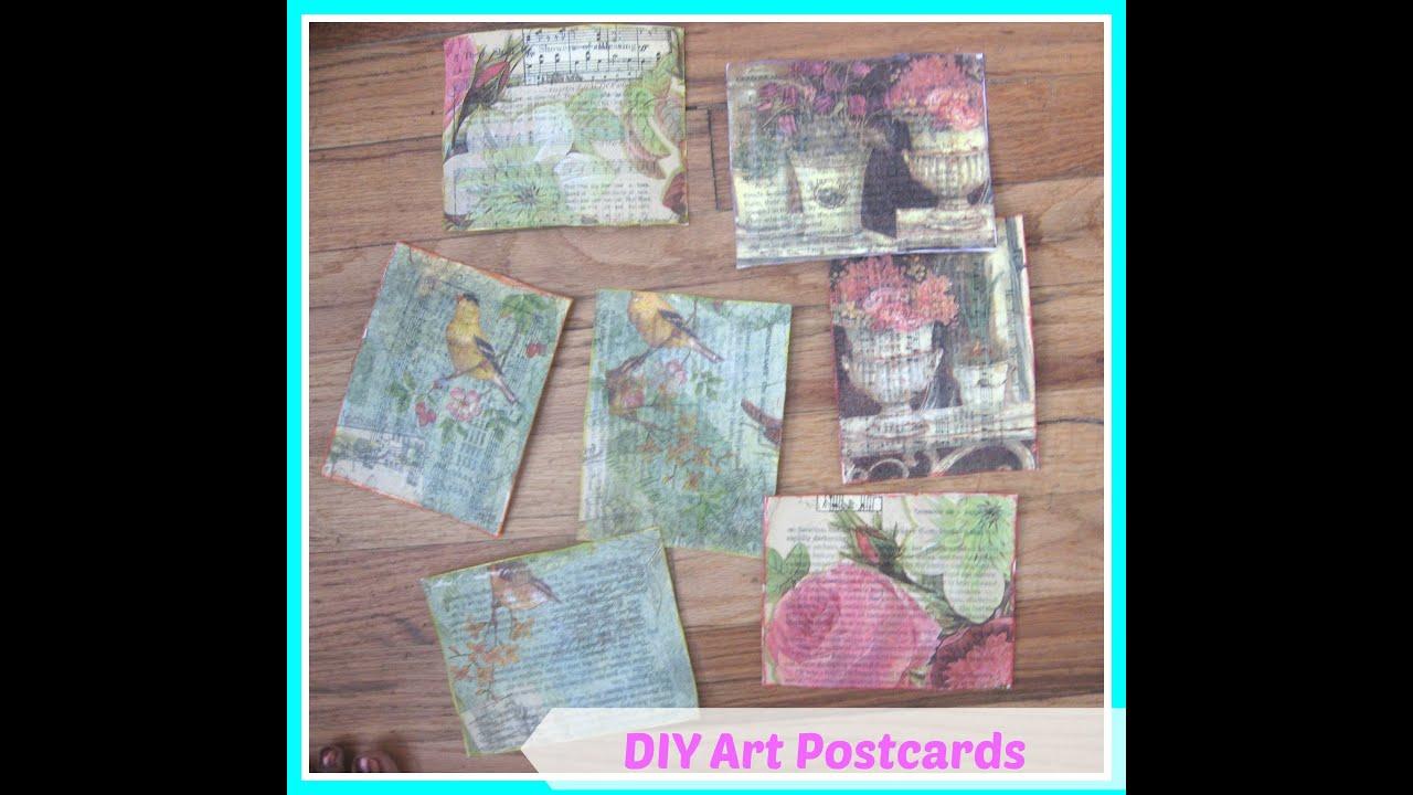 How To Make Handmade Postcards Diy Mixed Media Postcard Ideas Youtube