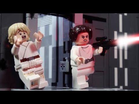 Luke And Leia Walk (!) Across The Death Star Shaft - LEGO STAR WARS - Stop-Motion Story
