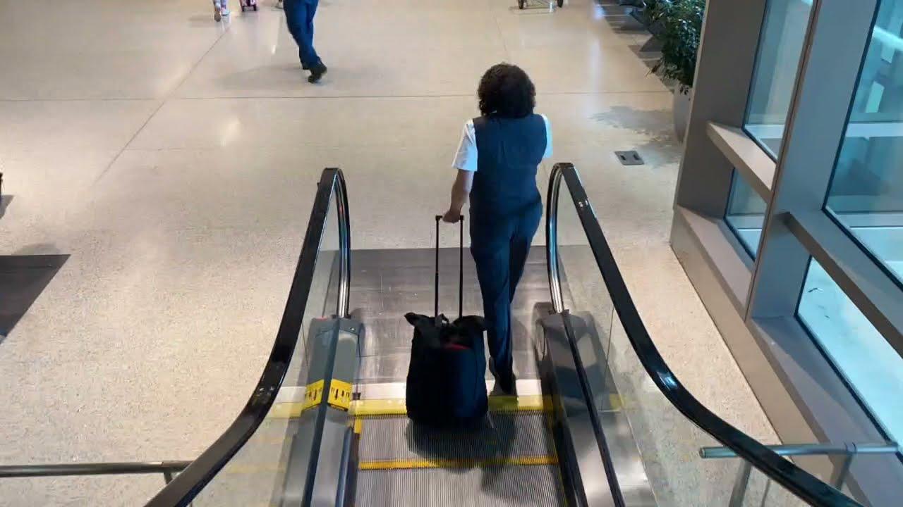 Long walk at the airport