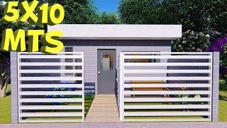 Plano de casa 5x10 metros con 1 dormitorio 5x10 House Plans