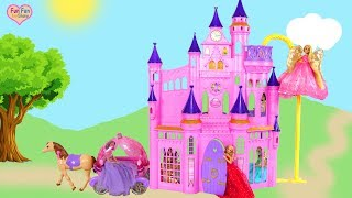 Disney Princess Ultimate Dream Castle Barbie Unboxing Review Boneka Putri Istana Princesa Castelo