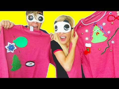 BLINDFOLD DIY UGLY CHRISTMAS SWEATER CHALLENGE!