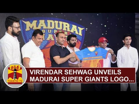 Virender Sehwag unveils Madurai Super Giants Logo, Song, Name | Thanthi TV