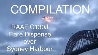 Compilation video of RAAF C-130J Hercules flare dispense over Sydney Harbour