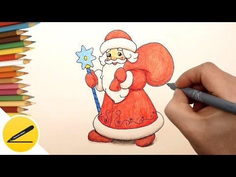 Как нарисовать рисунок деду морозу