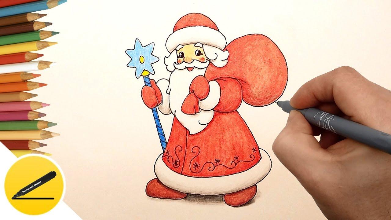 Как нарисовать Деда Мороза с мешком подарков на Новый Год - Рисование для детей