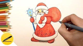 как нарисовать деда мороза и снегурочку видео