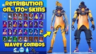 "NOUVEAU ""RETRIBUTION"" BACK BLING Showcased With 170 'SKINS! Fortnite BR (BEST RETRIBUTION COMBOS)"