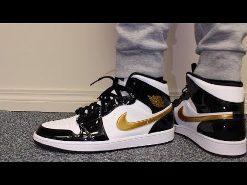 e4f1ea269796 Air Jordan 1 Mid SE Black and Gold Patent Leather Review and On Feet ...