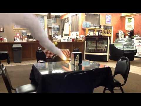 Action Movie FX blowing up a coffee tablet in Detroit Lakes, MN