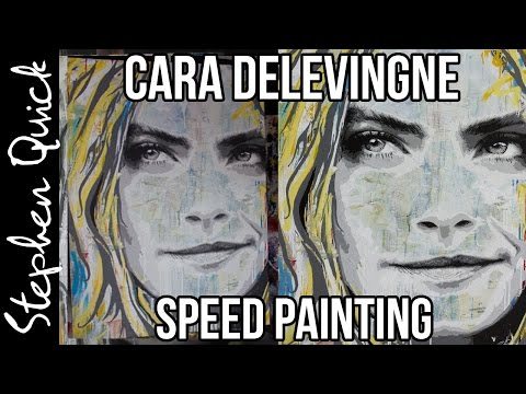 CARA DELEVINGNE SPEED PAINTING | Art Time Lapse By Stephen Quick